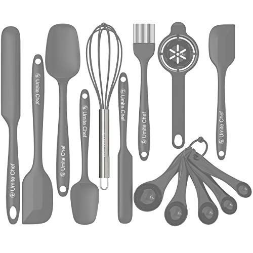 Silicone Spatula Set, Umite Chef 14-piece Heat Resistant Rubber Spatula with Stainless Steel Core, Non Stick and Great Grips Spatulas for Cooking, Baking and Mixing(Gray)