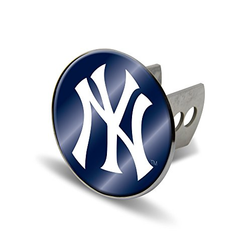 (Rico MLB New York Yankees Laser Cut Metal Hitch Cover, Large, Silver)