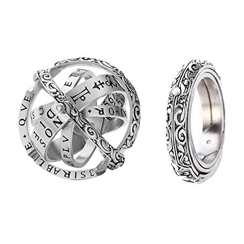 - Astronomical Sphere Ball Ring Women Mens Foldable Cosmic Finger Ring Couple Lover Jewelry Gifts Copper Silver Size 10