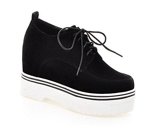 de Zapatos Encaje Tacón Shoes Embellecido de Meters Corte 38 Baja Retro Superficie de BLACK Mate 39 Cuña Up White de Cuero de XIE E0Z84gwqn