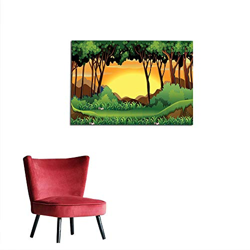 kungfu Decoration Corridor/Indoor/Living Room Forest,Cartoon Sunset Over Hills Tree Spring Season Inspirations Green Bushes,Green Caramel Yellow Art Poster W27.5 x -