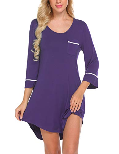 Ekouaer Sleep Shirt for Women Valentine Lingerie 3/4 Sleeves Nightgown Purple M