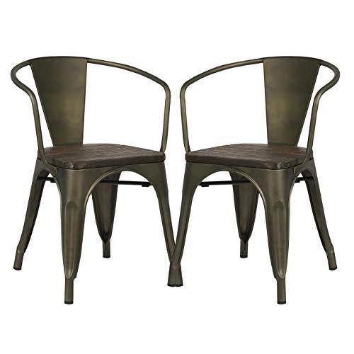 Poly and Bark Trattoria Arm Chair with Elm Wood Seat in Bronze (Set of 2) ()