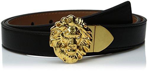 Ak Anne Klein Women's Anne Klein 25mm Reversible Belt With Lion Logo Buckle, black/Antelope, S (Anne Klein Belt)