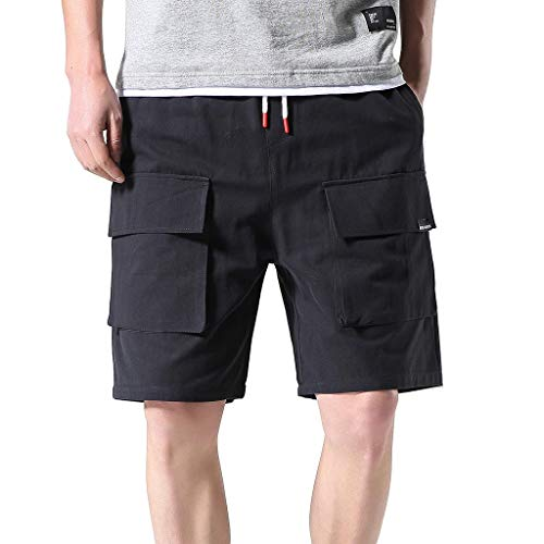 - Men's Casual Outdoors Pocket Pants Classic Relaxed Fit Stretch Cargo Short Work Beach Shorts by JUSTnowok Black