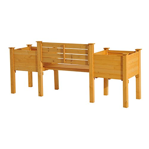 NEW Yellow Fir wood Wooden Garden Bench W/ Flower Bed Planter Patio Outdoor Furniture by Baskets, Pots & Window Boxes (Image #3)
