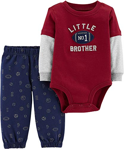 Carter's Baby Boys Graphic Slogan 2-Piece Bodysuit & Pant Set (9 Months, Red/Football)