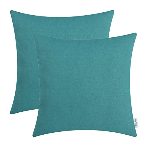 (CaliTime Pack of 2 Throw Pillow Covers Cases for Couch Sofa Bed Solid Dyed Soft Cotton Canvas 18 X 18 Inches Teal)