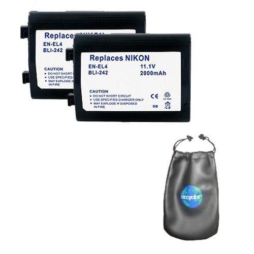 ValuePack (2 Count): Digital Replacement Camera and Camcorder Battery for Nikon EN-EL4 - Includes Lens Pouch by Amsahr