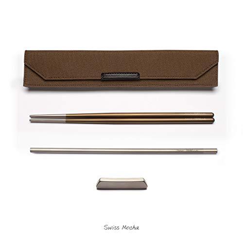 Mocha Studio - TWINZ studio Eco Friendly Aerospace grade Titanium Chopstick EDC Set (Swiss Mocha)