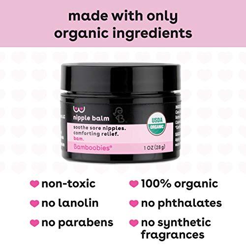 Bamboobies Nipple Cream, Lanolin-Free Organic Nursing Balm, 1 oz