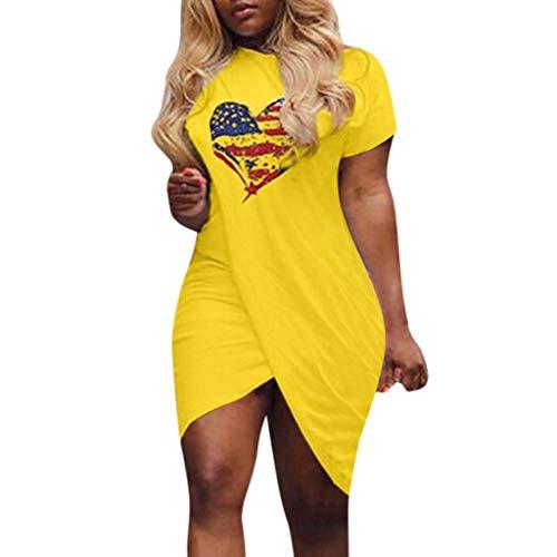 Women Love Heart Dress - Pattern Flag Print Dress Short Sleeve Split Mini Dress,Womens Tank Tops Workout Loose Fit