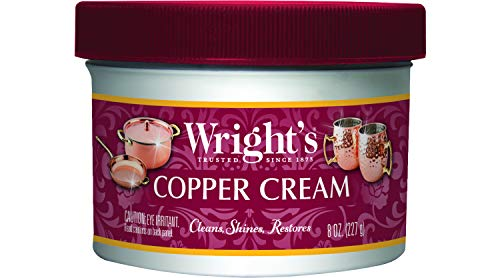 Wright's Copper and Brass Cream Cleaner - 8 Ounce - Gently Cleans and Removes Tarnish Without Scratching ()