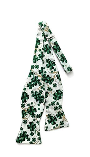 Men's St. Patrick's Day Self-Tie White Bow Tie Green Shamrocks & Metallic Gold (Mens)