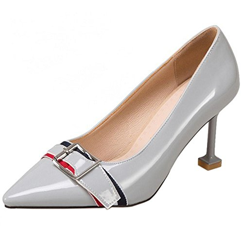 COOLCEPT Damen Mode-Event Spitze Toe Stiletto Pumps Mit Schnalle Grey