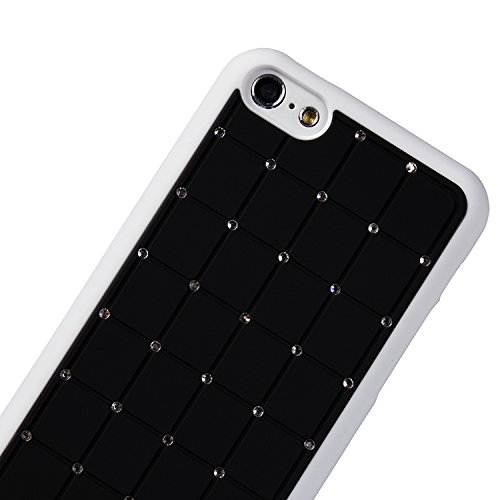 Value Pack Iphone 4 / 4S CRISTAL DE LUXE Croix Black Diamond Case Hard Cover Bling avec cadre blanc pour Apple iPhone 4 / 4S
