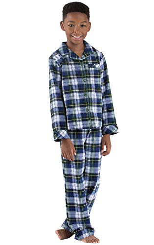 PajamaGram Tartan Flannel Classic Plaid Button-Front Pajamas, Green, Big Boys' 6