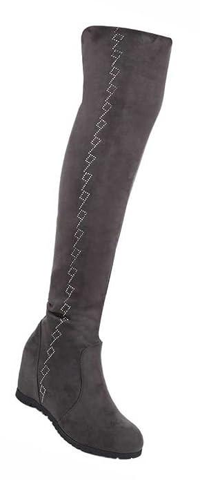Damen Overknee Kniehohe Stiefel leicht Gefüttert   Frauen Stiefel Kniehohe Overknee ... b0946f