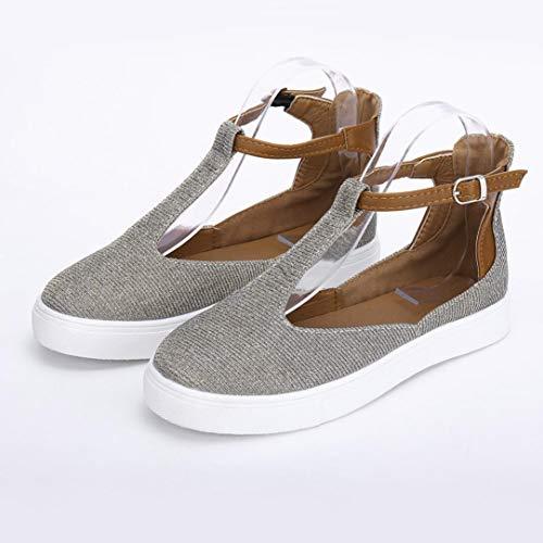 Toe Vintage Mocassini Cinture Sneaker Donne Grigio Scarpe Casual Piattaforma Scarpe Piatta Fibbia Donne Tacco Rotonda 1wxX1Aq