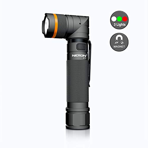 Rechargeab Flashlights,800 high lumens CREE White Green RED 3 Color Mode USB Rechargeable Magnetic Adjustable-Head Tactical Portable Flashlight LED Torch with Battery Included 2500mAh IP65 B70 ()