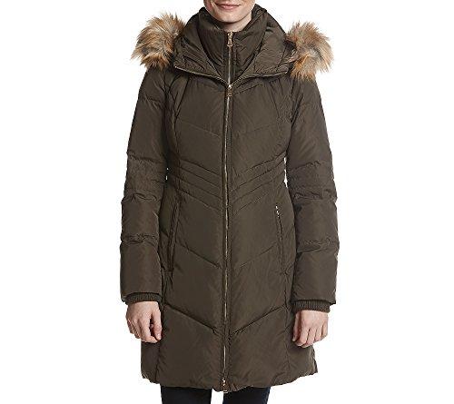 Jones New York Faux Fur Hood with Bib Coat Olive Large