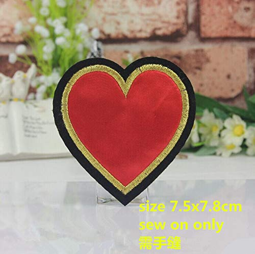Xuuaiq Sew On 10 Pcs I Love DIY Sets Heart Scissor Sewing Embroidered Patch Motif Applique Garment Embroidery Patch DIY Accessory