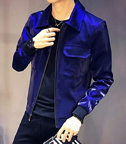 Jacket Turn Mens Tops Down Casual Shiny Zipper Blue Collar Soft Coats XINHEO 1qw8X8