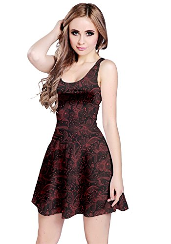 CowCow Womens Red Black Spirals Swirls Doodles Sleeveless Dress, Red - M (Doodle Swirls)