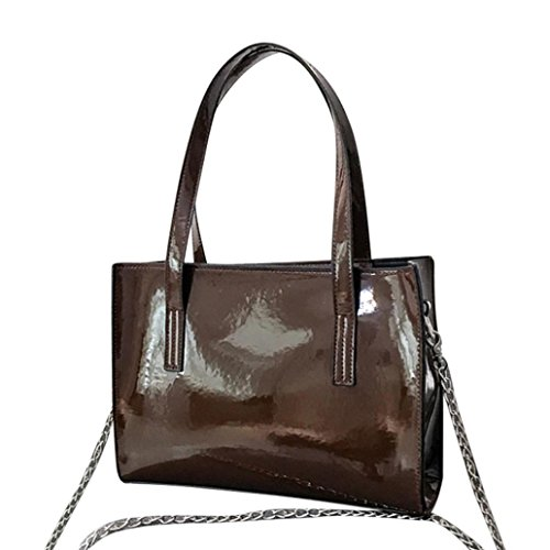 - ChainSee Women Simple Patent Leather Totes Shoulder Bag Satchel Fashion Purse Messenger Bag Handbag (Coffee)