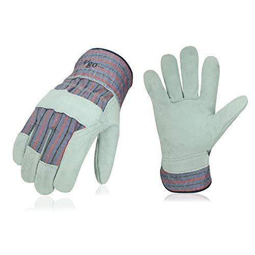 Vgo 3-Pairs Leather Work Gloves with Safety Cuff (Size L, Blue, CB3501)