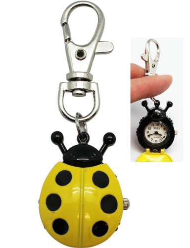 Yellow Ladybug Ring - Yellow Ladybug Keychain Watch with Clip