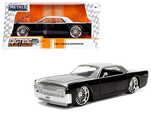 1963 Lincoln Continental Black with Silver Top 1/24 Diecast Model Car by Jada 99553