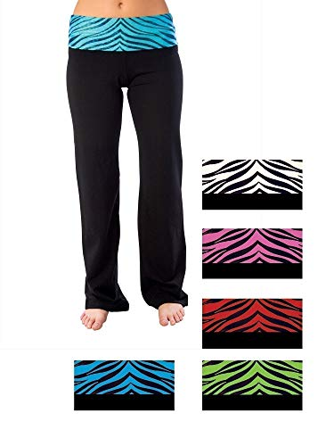 - Pizzazz Women Black Turquoise Zebra Roll-Down Waist Pants Adult X-Large