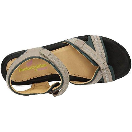 MADE IN SPAIN 33801 Sandalia de Piel Mujer Sandalias Platino