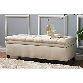 Amazon Com Modern Solid Tufted Fabric Storage Ottoman