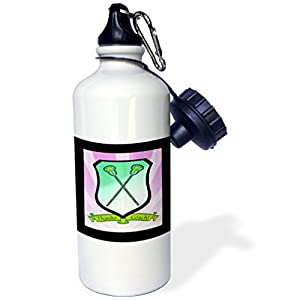 Sports Water Bottle Gift, Lacrosse Sticks On Shield Banner Thanks Coach Greens Pink Black Purple White Stainless Steel Water Bottle for Women Men 21oz
