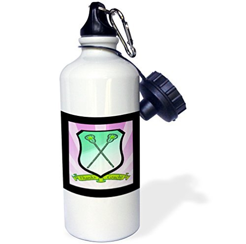 rfy9u7 21oz Sports Water Bottle, Lacrosse Sticks on Shield Banner, Thanks Coach, Greens, Pink, Black, Purple by rfy9u7