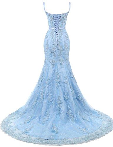 Träger Spitze Abendkleider Brautkleider Weiß mit Lang Ballkleider Damen Hochzeitskleider Meerjungfrau qy7U1Bc4