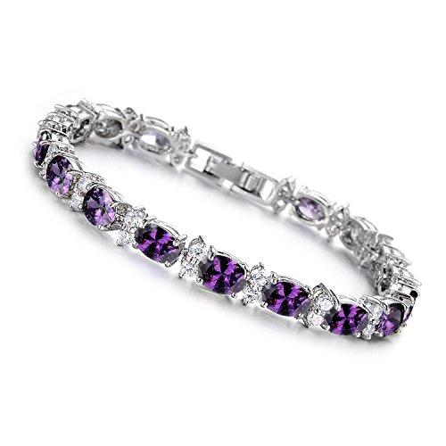 Silver Plated Purple Crystal - Girl Era Elegant Silver Plated Oval-Cut Purple Crystal Stone Tennis Bracelet Charm Link Bracelets(purple)