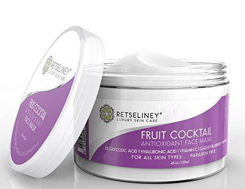 Retseliney Antioxidant Clay Facial Mask, Brightening & Rejuvenating for Dull Skin, Tightens, Pore Reducer, Reduces Wrinkles & Fine Lines with Vitamin C & Glycolic Acid, Organic & Natural Mask for Face