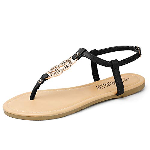 SANDALUP Flat Sandals for Women Thong Style Inlaid with Ring Meta Black-Silver 07