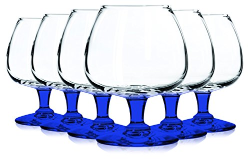 Libbey Cobalt Blue Jumbo Brandy Glasses with Colored Accent - 22 oz. Set of 6- Additional Vibrant Colors Available by TableTop King