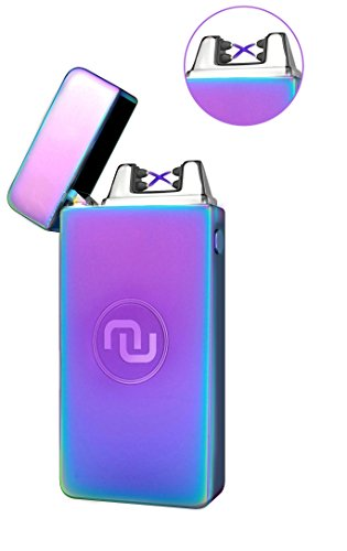 Novelty Wares - USB Flameless Plasma Dual Arc Rechargeable Windproof Cigarette Lighter with Charging Cable and Gift Box (Neon)