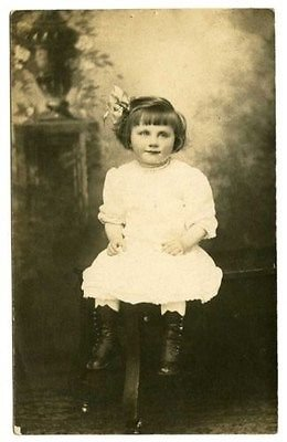 Early 1900s Photo (Little Girl in High Button Shoes Real Photo Postcard, early 1900s)