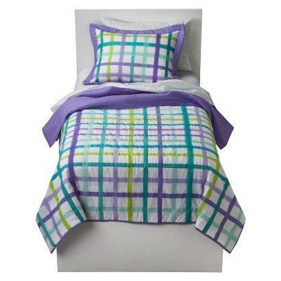 Circo Purple Plaid Quilt and Sham 2 pc Set Size Twin