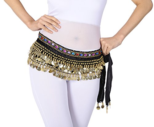 Belly Dance Hip Scarf Scarves Sash Coins Egyptian Cabaret Tribal Fusion Black - Belly Dance Cabaret