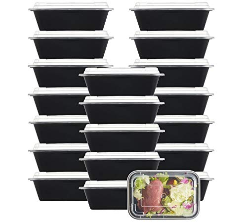 (NutriBox [20 Value Pack] single one compartment 24 OZ Meal Prep Plastic Food Storage Containers - BPA Free Reusable Lunch Bento Box - Microwave, Dishwasher and Freezer Safe - For School Work or Trips)