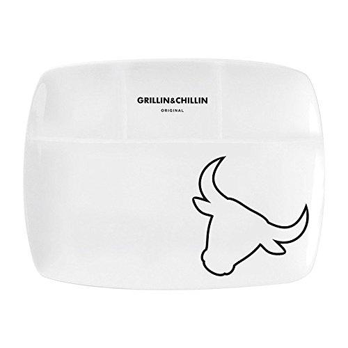 GUSTA 02210770 'Grillin & Chillin' Gusta Steakteller 'Grillin & Chillin' - Stier, 26x20cm, Porzellan, weiß (1 Stück)