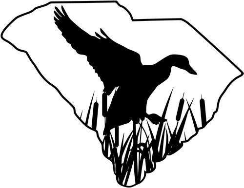 Mandy Graphics South Carolina Duck Drake Hunting Vinyl Die Cut Decal Sticker for Car Truck Motorcycle Windows Bumper Wall Home Office Decor Size- [8 inch/20 cm] Wide and Color- Gloss White