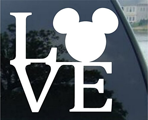 Crawford Graphix Mickey Mouse Ears Love Logo Vinyl Decal Sticker Disney for Car Truck SUV Boat Trailer Mirror Laptop Art (5